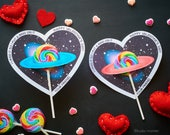 Saturn Sucker valentines Space Science Lollipop heart shaped printable DIY easy valentines for school Astronomy Planets Outer space cute