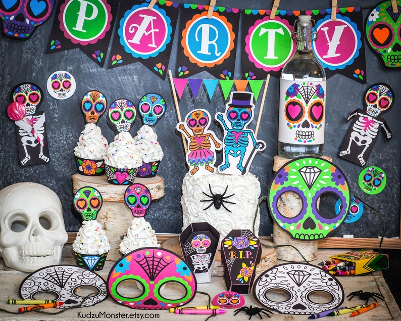 Punk Sugar Skull Day of the Dead Party printable decor kit Dia image 0