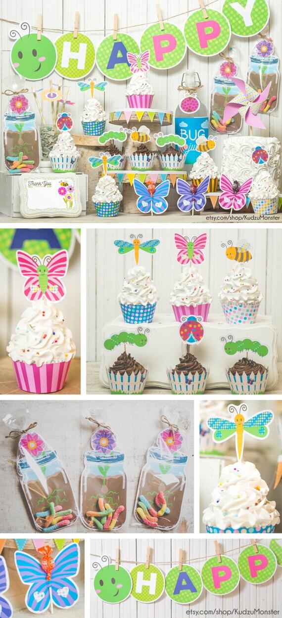 Garden Bug Spring Party Printable Decor Kit Diy Cupcake