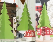 Woodland 3D printable tree and mushroom DIY woodland forest mushroom and evergreen tree party decor instant download