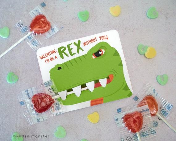T Rex Valentines Printable DIY Instant Download Small Lollipop