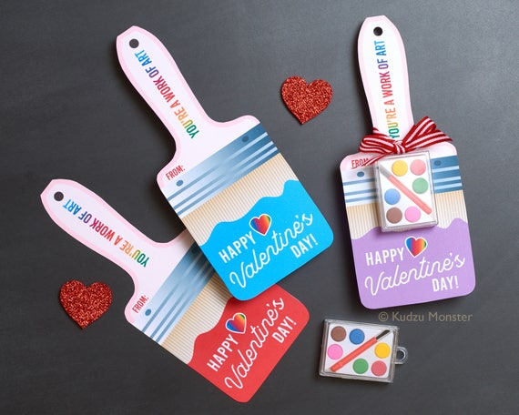 Art Valentines Cute Paintbrush Valentine's Day Cards Tiny