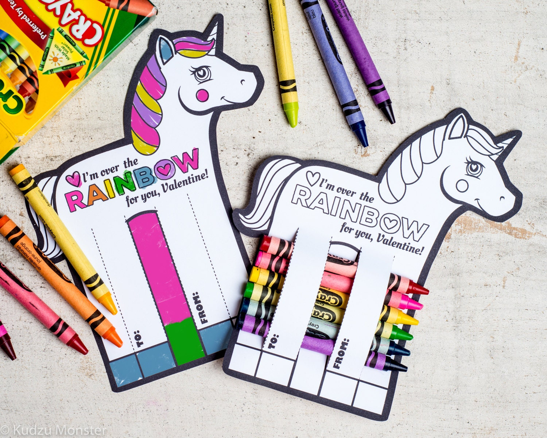 Rainbow Unicorn Valentines Printable DIY Instant Download ...
