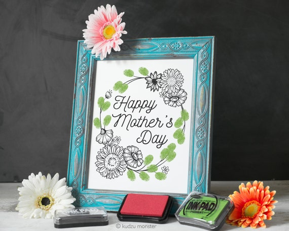 Finger Paint Art Mother's Day Printable Flowers Art DIY