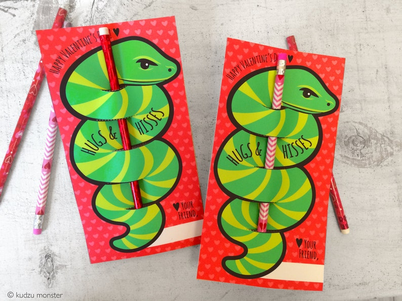 8460f4621c05 Hugs and Hisses striped snake pencil holder Valentine instant | Etsy