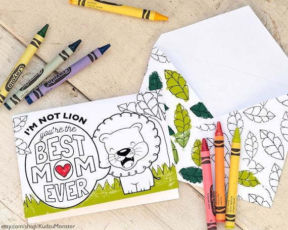 Kids Mother's Day Card Coloring page cute safari lion