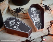 Halloween printable coffin party favor boxes DIY containers for candy or toys skeleton RIP spooky black print at home box classroom handout
