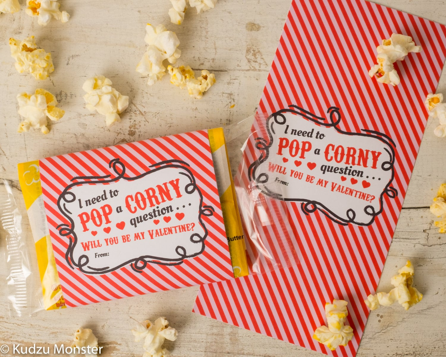 Zany image with popcorn valentine printable