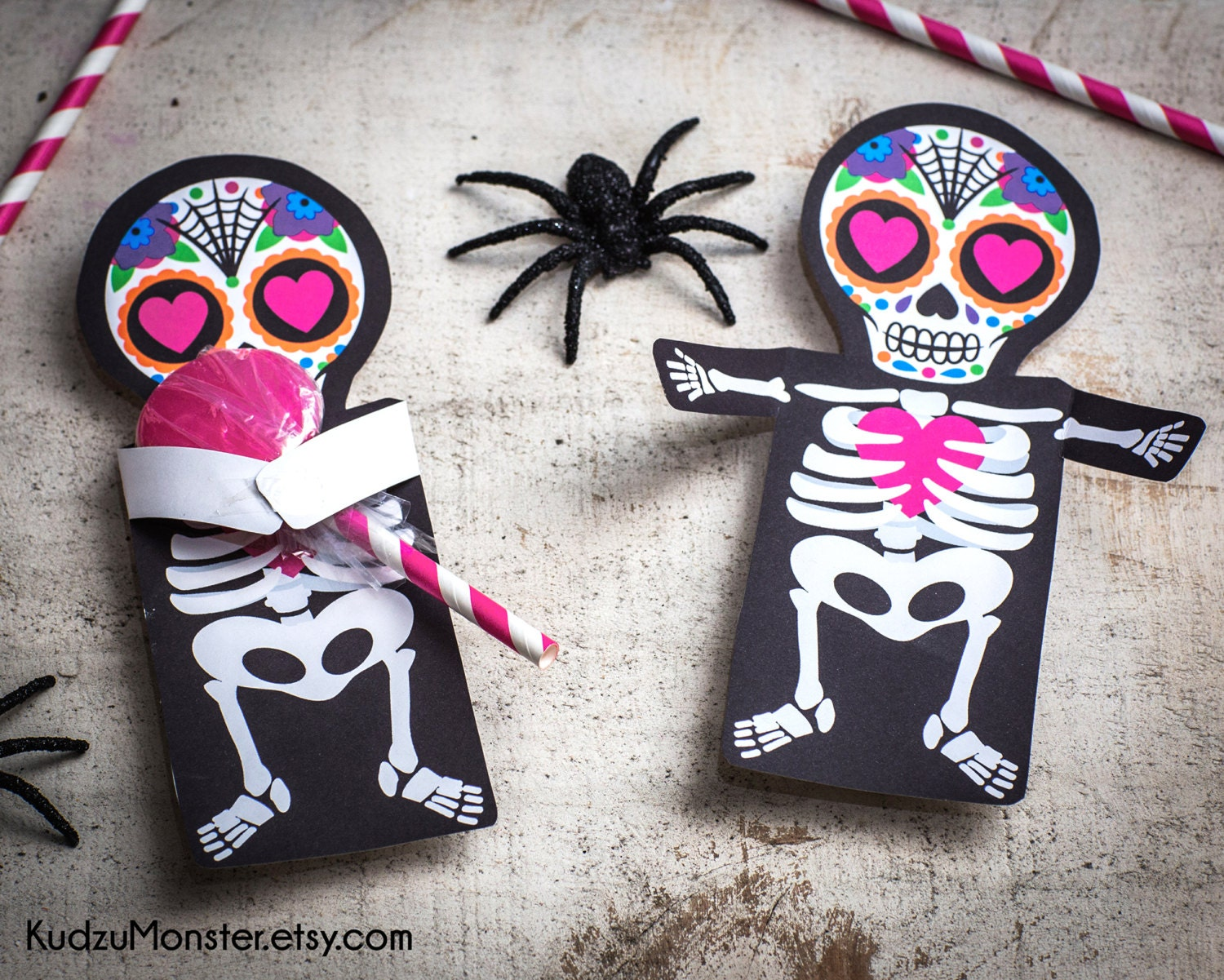 Valentine Sugar Skull Day Of The Dead Printable Coffin Party Etsy