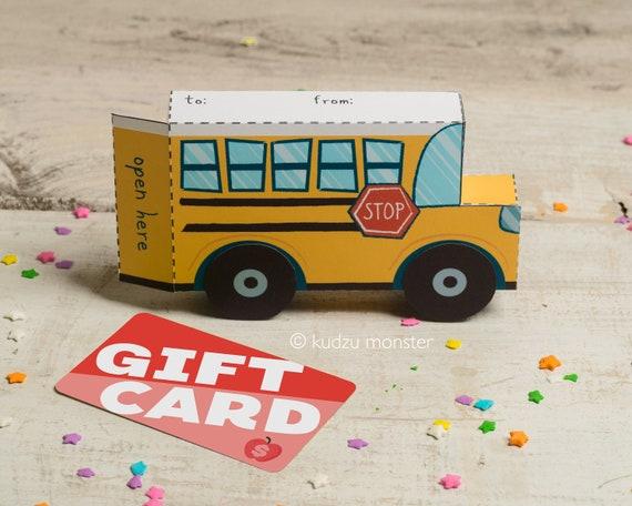Teacher Appreciation School Bus Printable Gift Card Box