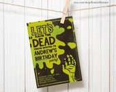 Zombie invitation green Customized Printable kids Birthday Party Invitation funny walking dead zombie slime grave tombstone monster party