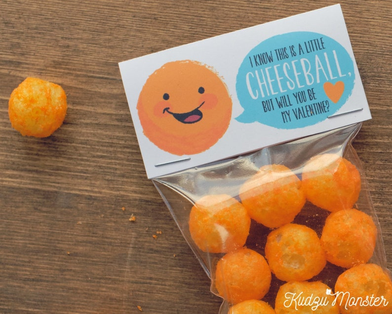 Valentines Cheeseballs Cheese Puffs Bag Label INSTANT DOWNLOAD valentine treat topper printable DIY file Cheesy Funny Valentine/'s Day Gift