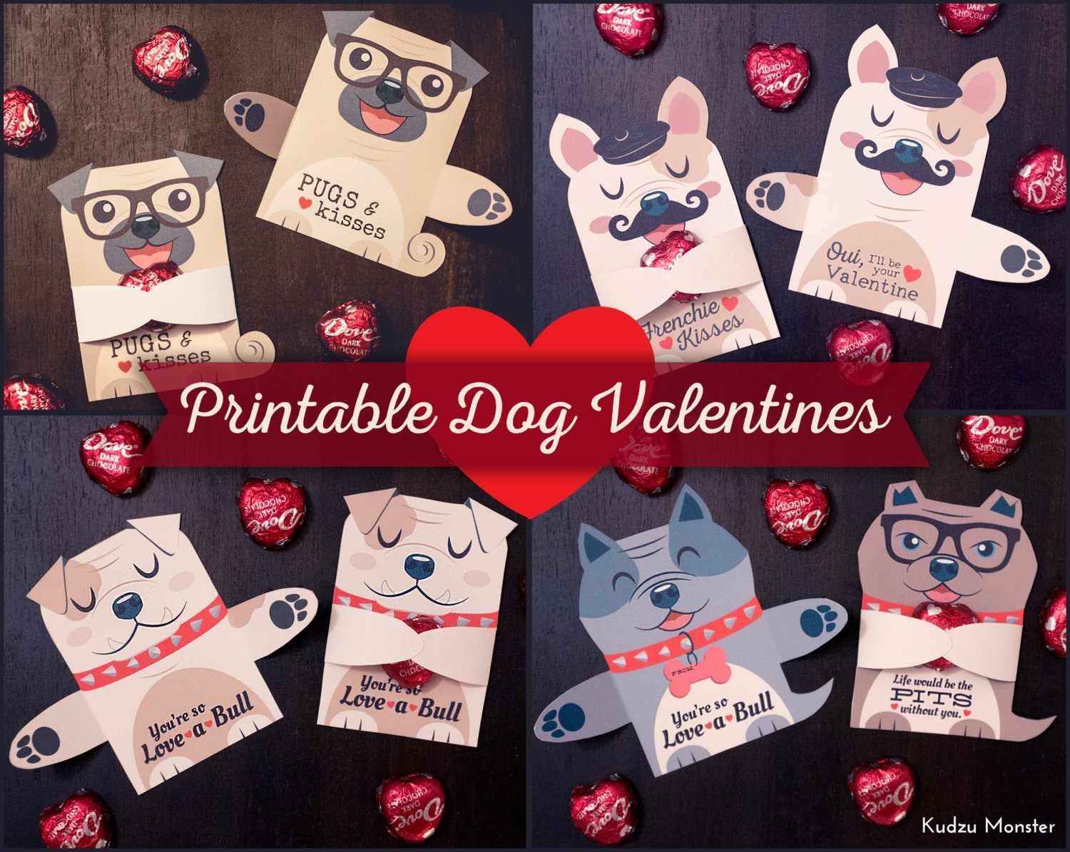 Dog Valentines Candy Huggers Printable Puppy Valentine cards | Etsy