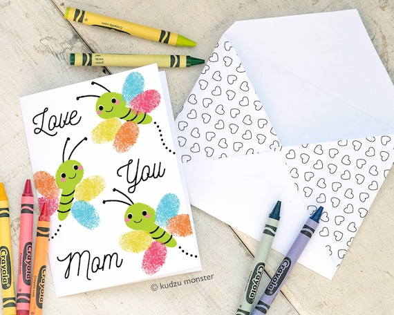 Butterfly Fingerprint Mother's Day Card INSTANT Printable