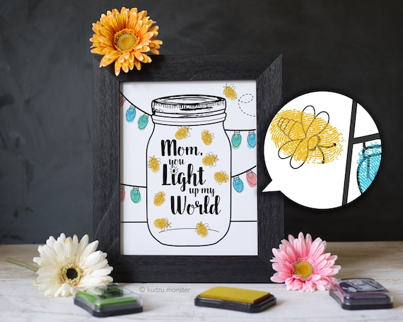 Finger Paint Mother's Day Printable Lightning Bugs Firefly