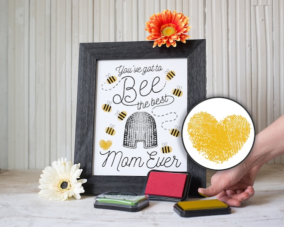 Finger Paint Art Mother's Day Printable Bumble Bee DIY