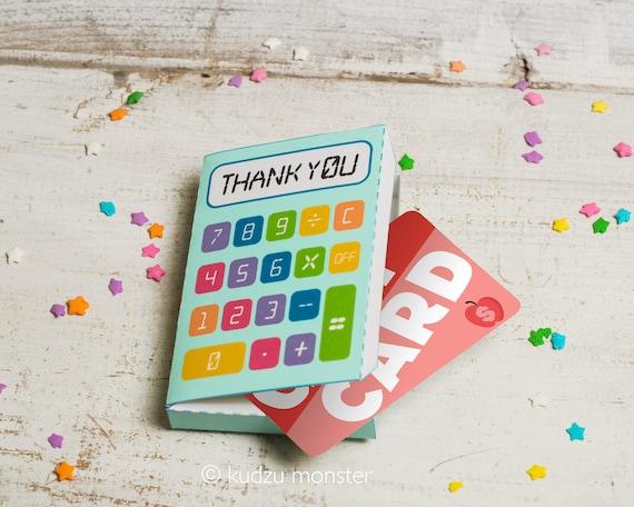 Teacher Appreciation Printable Gift Card Box Calculator
