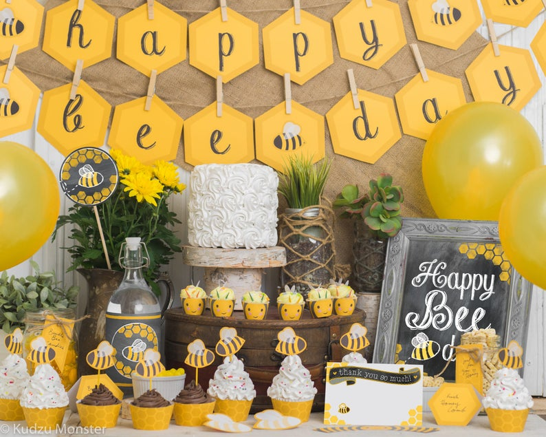 BEE Day Birthday Party Kit Bumble Bee Themed 1st 2nd 3rd Cute Printable Ochre Grey Honeycomb Stripes Decor