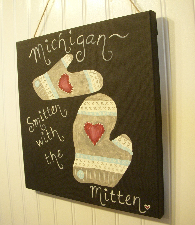 Canvas Michigan mitten painting 12 x 12 Original artwork Hand | Etsy