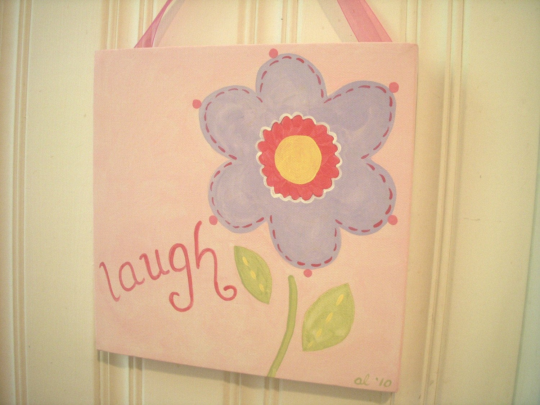 girl kid room decor..baby nursery wall art..original canvas | Etsy