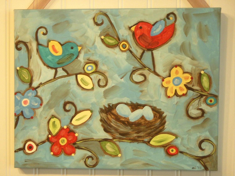 Bird nest painting Canvas Primitive folk art 11 x 14 Original | Etsy
