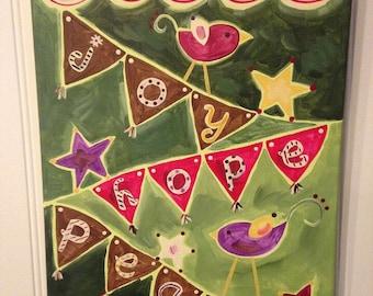 Merry Christmas canvas bird painting Original wall art Home decor 11 x 14 Holiday hostess gift present