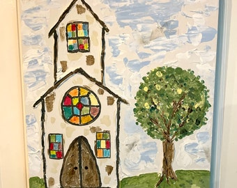 Country Church Reclaimed wood Primitive folk art 11 x 18 Original painting Christian artwork Religious Chapel Whimsical Stained Glass Window