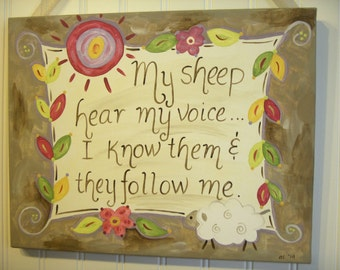 My Sheep Hear my Voice Canvas painting 11 x 14 Original artwork Primitive folk Home decor Painted wall art Christian Bible verse Religious