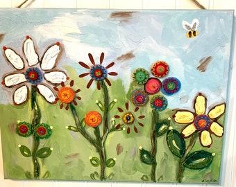 Felt Button Flowers Original canvas painting 11 x 14 Hand painted wall art Nursery art girls room Daisy Bee Mixed media Bohemian Whimsical