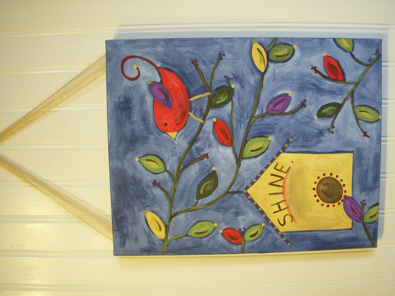 Shine 11 x 14 Original Canvas Painting Primitive Folk Art Hand | Etsy