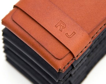 Groomsmen Gift - Personalized - Slim Leather Wallet - Leather Card Case - Minimalist - Set of 2 (or more) - FREE monograms - FREE Shipping