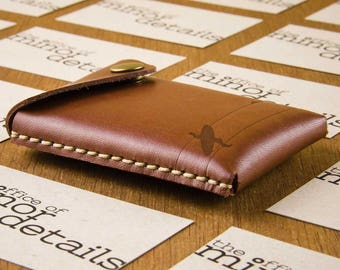 Leather Card Case Men - Business Card Case Leather - Cardholder - Surfer - Byron Bay Gift - Leather Card Holder -  FREE SHIPPING