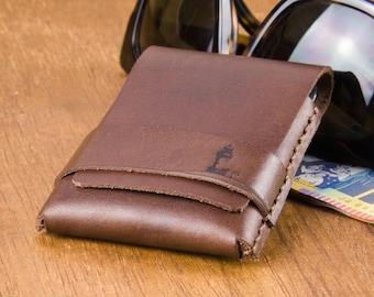 Leather Cardholders - Minimalist Wallet - Slim Wallet - Thin Leather Wallet - Mens Wallet - Byron Bay Lighthouse -  FREE SHIPPING