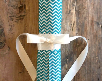 Teal and Silver Metallic Chevron The No-Tangle 6pc Jewelry Travel Roll