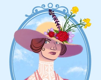 BAD BLOOMS: LUELLA- 3.75 x 5 in Victorian Flower Hat Print