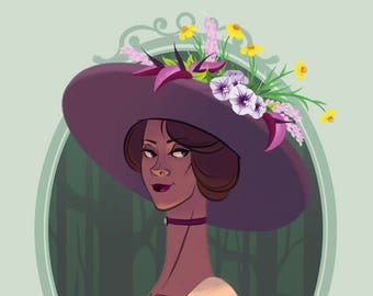 BAD BLOOMS: BRIAR- 3.75 x 5 in Victorian Flower Hat Print