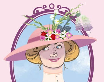 BAD BLOOMS: MILLIE- 3.75 x 5 in Victorian Flower Hat Print