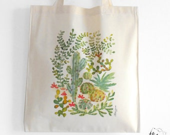 Botanical cacti and succulent jungle watercolor tote bag in organic cotton