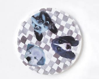 Cute dog pocket mirror, Cute Miror, Dog lover gift, Illustrated mirror, Compact mirror, Small gift, Cute gift, Pet lover, Bag Accessory