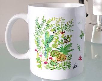 Green cacti succulent watercolor mug for tea coffee hot beverage breakfast time