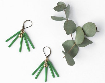 Green tube earrings, Geometric earrings, Glass tube dangle earrings, Vintage bead, Contemporary, Modern, Geometric jewelry, Dainty jewelry
