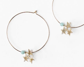 Star hoop earrings, Stars earrings, Large gold filled hoops, Gold statement, Gold gemstone, Amazonite, Dangle earrings, Dainty gold jewelry
