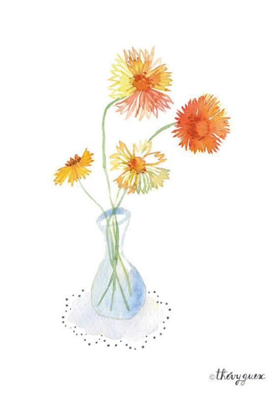 watercolor flower print flower poster flower illustration etsy