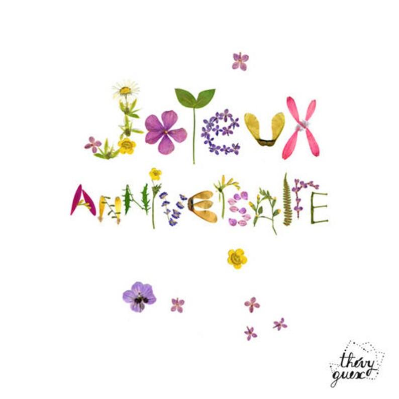 Carte Joyeux Anniversaire Fleur Herbier Typographie Fleur Carte Botanique Nature Romantique Végétal Papeterie Fleur Carte Plante