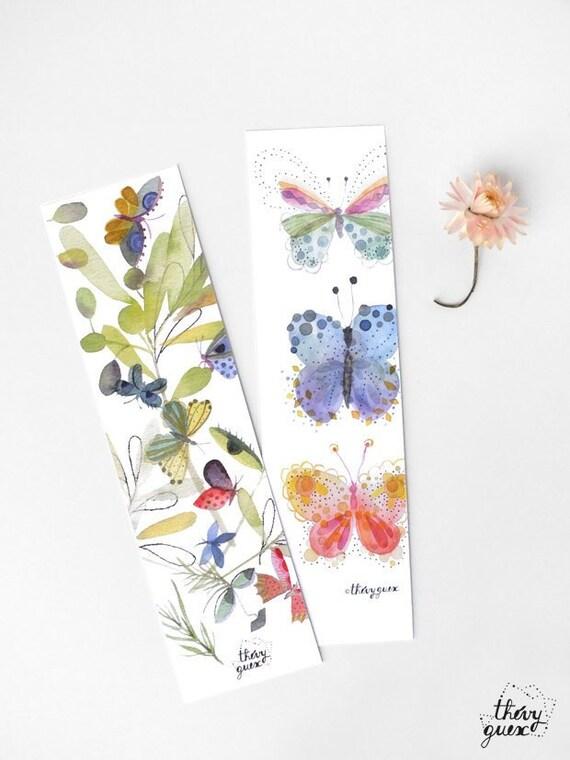 2 MARQUE-PAGES pour livres Métal argenté 12 cm PAPILLONS et Fleurs