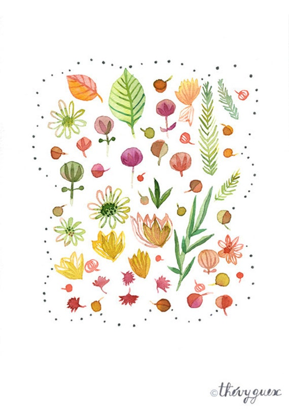 Fleur Illustration illustration fleur aquarelle poster fleur art fleur | etsy