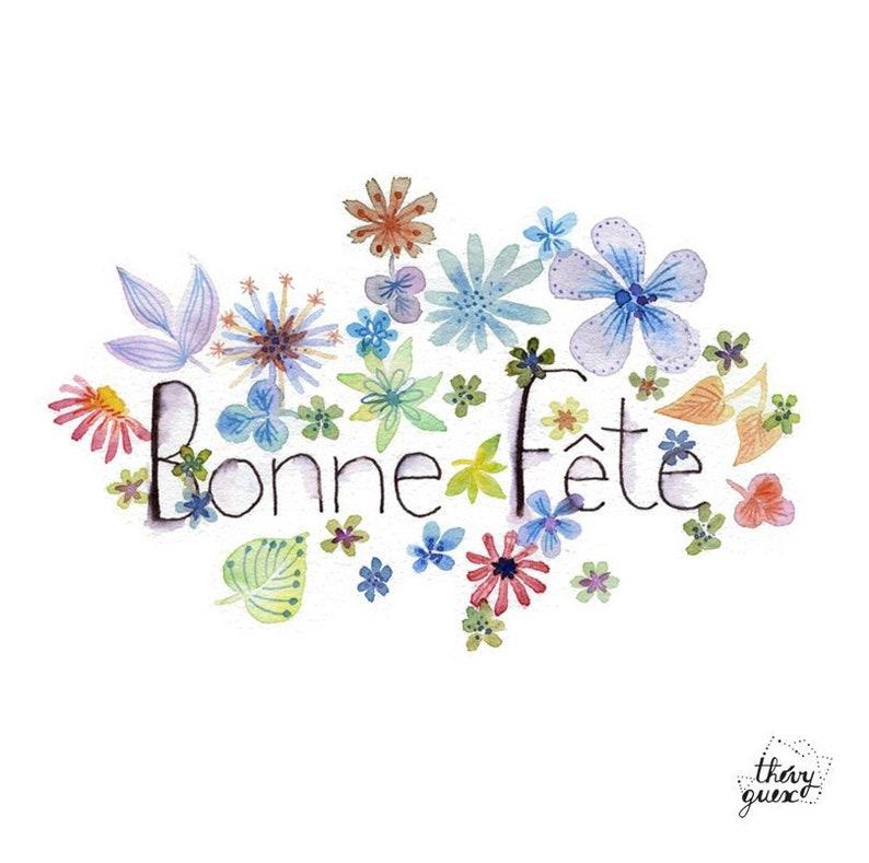 Carte Bonne Fete Fleur Aquarelle Fleur Motif Fleur Etsy
