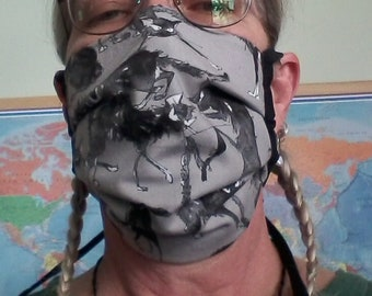 Adult Face mask  - Many colors - Cotton multi layer with interfacing lining, ties and sewn in nose wire