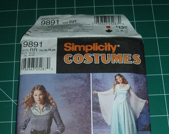 9891 Simplicity - Size RR 14,16,18,20 - costume pattern Medieval dress - princess dress
