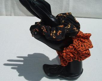 Halloween Hair Elastics - 2 pack set - scrunchies - READY TO SHIP